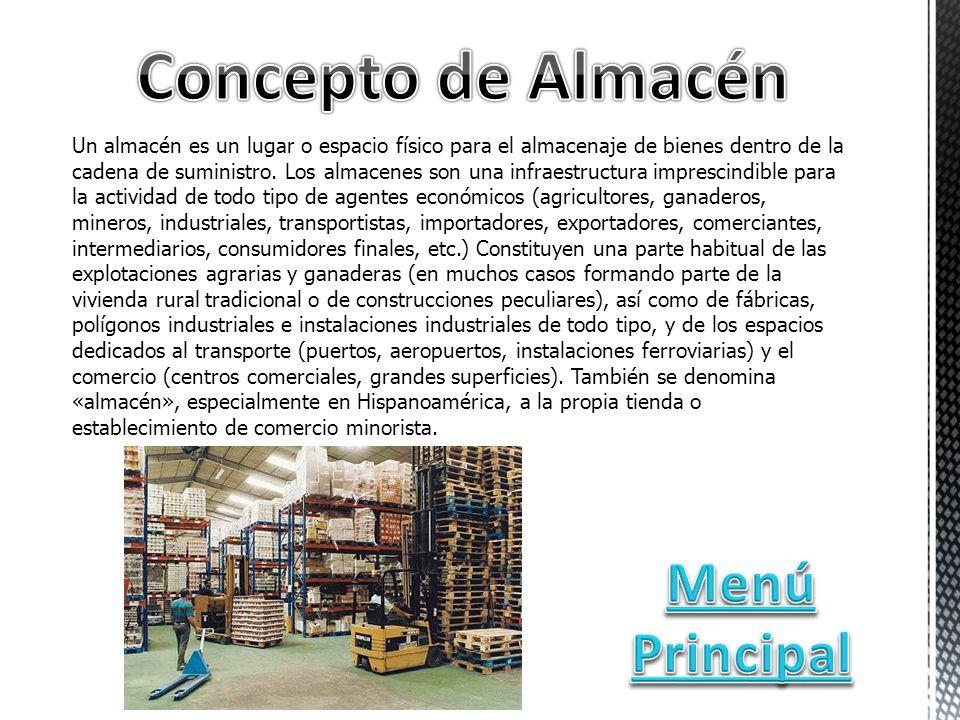 Un almacén es un lugar o espacio físico para el almacenaje de bienes dentro de la cadena de suministro.