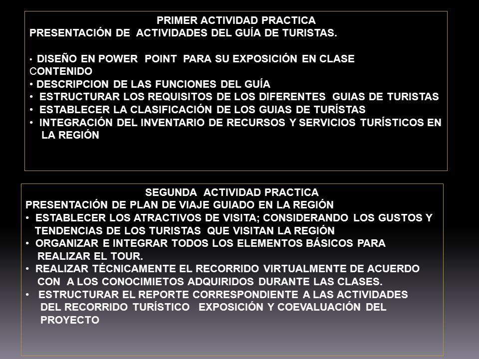 PRIMER ACTIVIDAD PRACTICA PRESENTACIÓN DE ACTIVIDADES DEL GUÍA DE TURISTAS. DISEÑO EN POWER POINT PARA SU EXPOSICIÓN EN CLASE CONTENIDO DESCRIPCION DE
