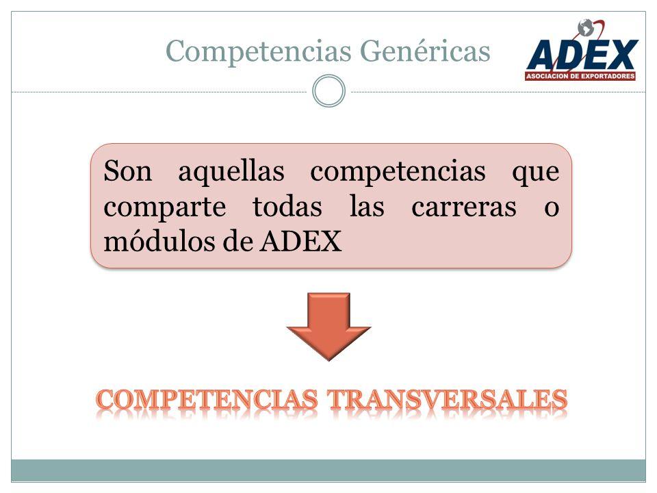Competencias Genéricas Son aquellas competencias que comparte todas las carreras o módulos de ADEX