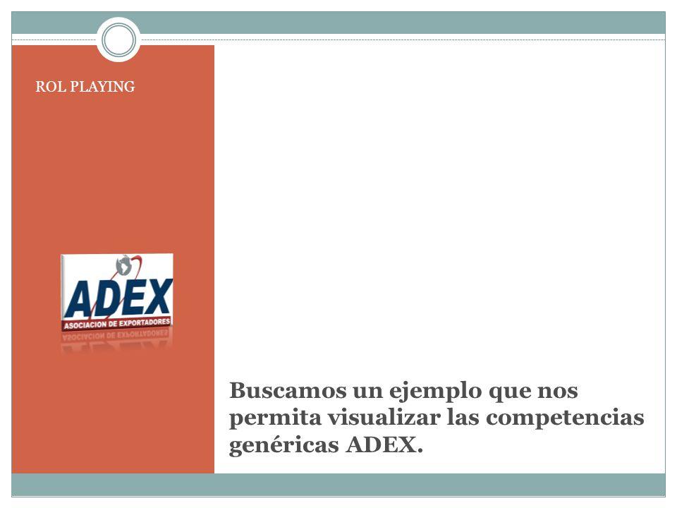 Buscamos un ejemplo que nos permita visualizar las competencias genéricas ADEX. ROL PLAYING