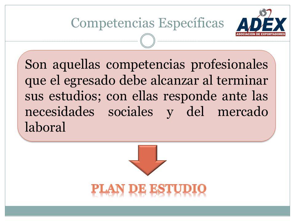 Competencias Específicas Son aquellas competencias profesionales que el egresado debe alcanzar al terminar sus estudios; con ellas responde ante las necesidades sociales y del mercado laboral