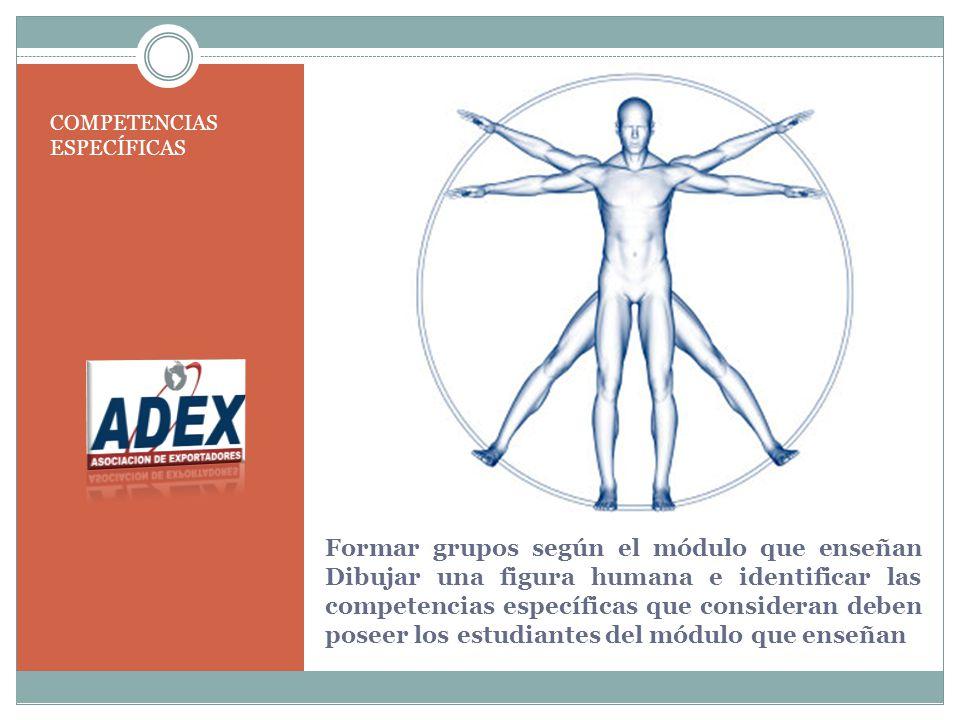 Formar grupos según el módulo que enseñan Dibujar una figura humana e identificar las competencias específicas que consideran deben poseer los estudiantes del módulo que enseñan COMPETENCIAS ESPECÍFICAS
