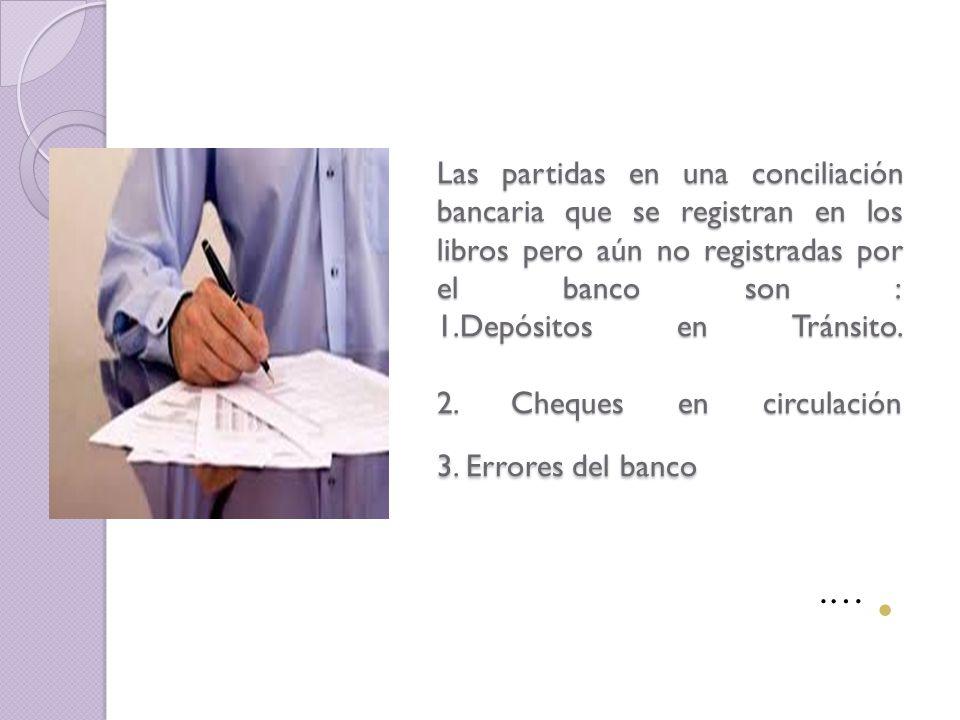 Las partidas que probablemete no se han registrado en los libros, pero sí por el banco son: 1.Cobros efectuados por el banco.