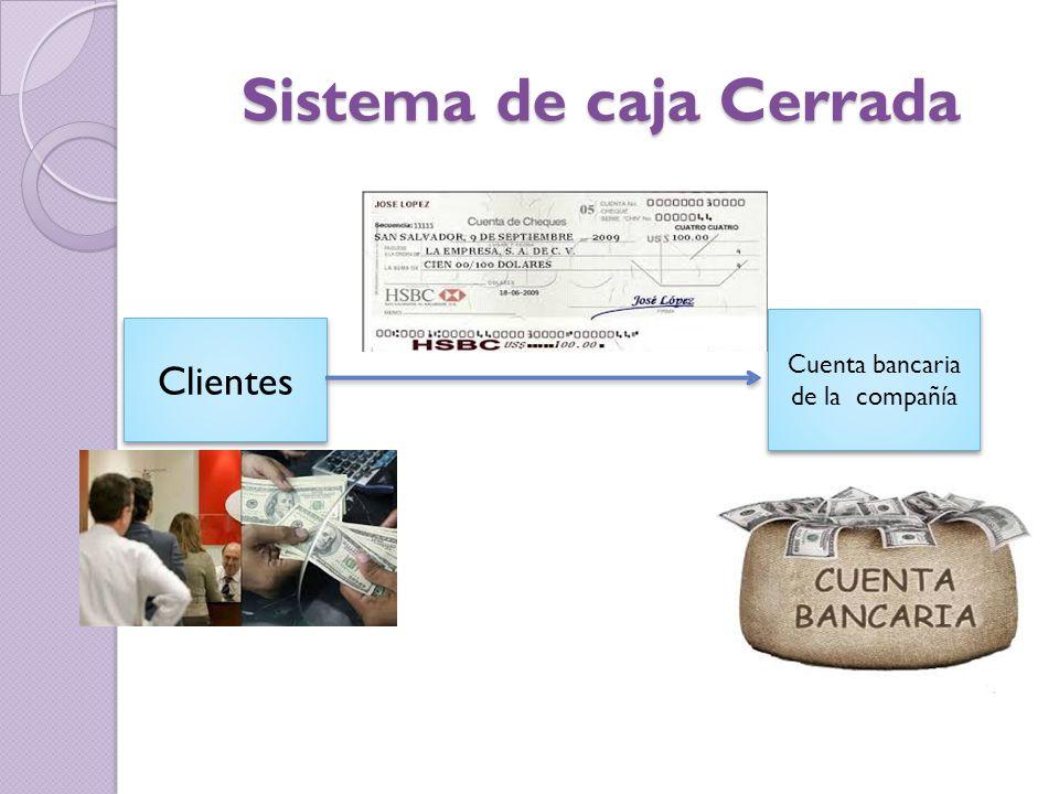Sistema de caja Cerrada Clientes Cuenta bancaria de la compañía
