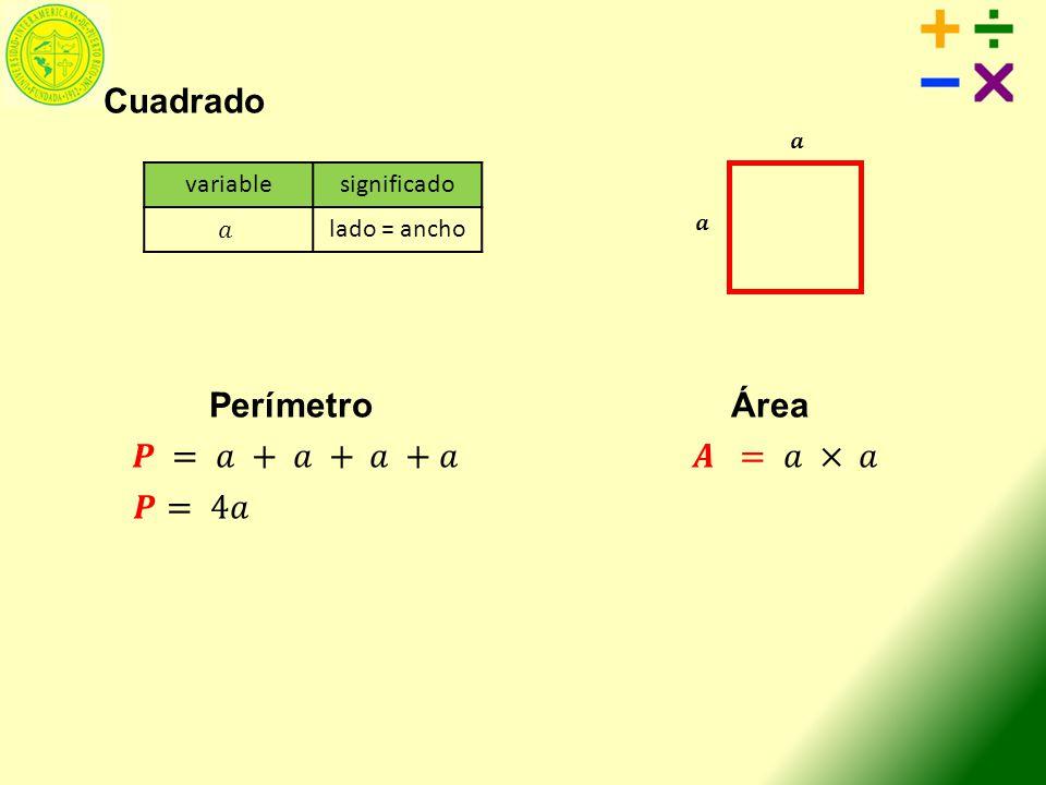 variablesignificado lado = ancho