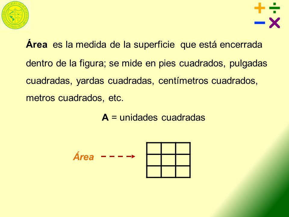 Área es la medida de la superficie que está encerrada dentro de la figura; se mide en pies cuadrados, pulgadas cuadradas, yardas cuadradas, centímetro