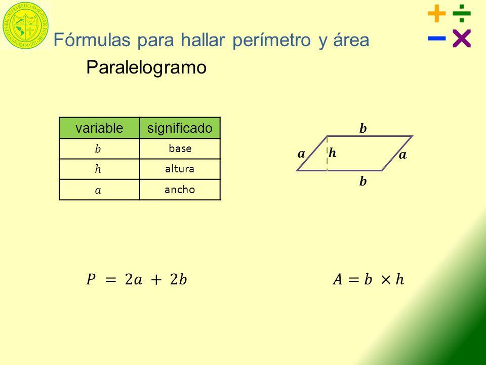 variablesignificado base altura ancho