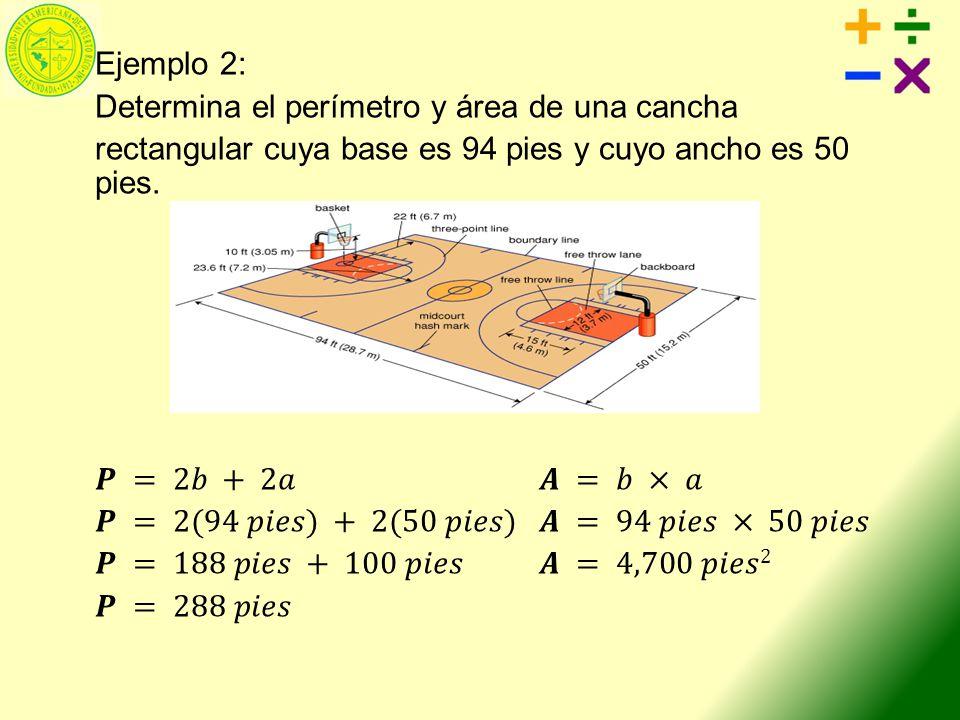 Ejemplo 8 Determina el área con el radio y con el diámetro Recuerda que para hallar el área utilizas el radio.
