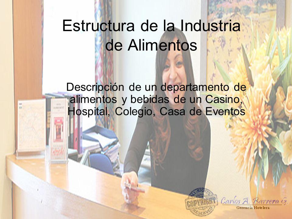 Estructura de la Industria de Alimentos Descripción de un departamento de alimentos y bebidas de un Casino, Hospital, Colegio, Casa de Eventos