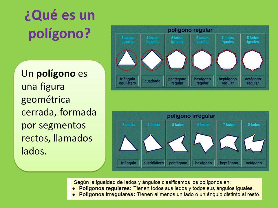 ¿Qué es un polígono? Un polígono es una figura geométrica cerrada, formada por segmentos rectos, llamados lados.