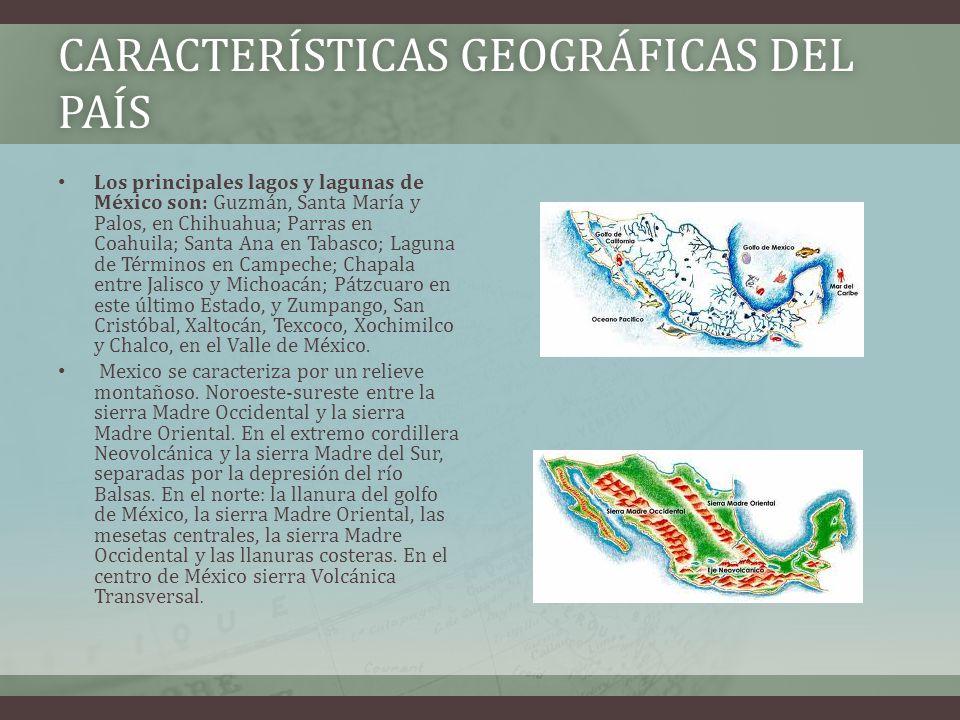 CARACTERÍSTICAS GEOGRÁFICAS DEL PAÍS Los principales lagos y lagunas de México son: Guzmán, Santa María y Palos, en Chihuahua; Parras en Coahuila; Santa Ana en Tabasco; Laguna de Términos en Campeche; Chapala entre Jalisco y Michoacán; Pátzcuaro en este último Estado, y Zumpango, San Cristóbal, Xaltocán, Texcoco, Xochimilco y Chalco, en el Valle de México.
