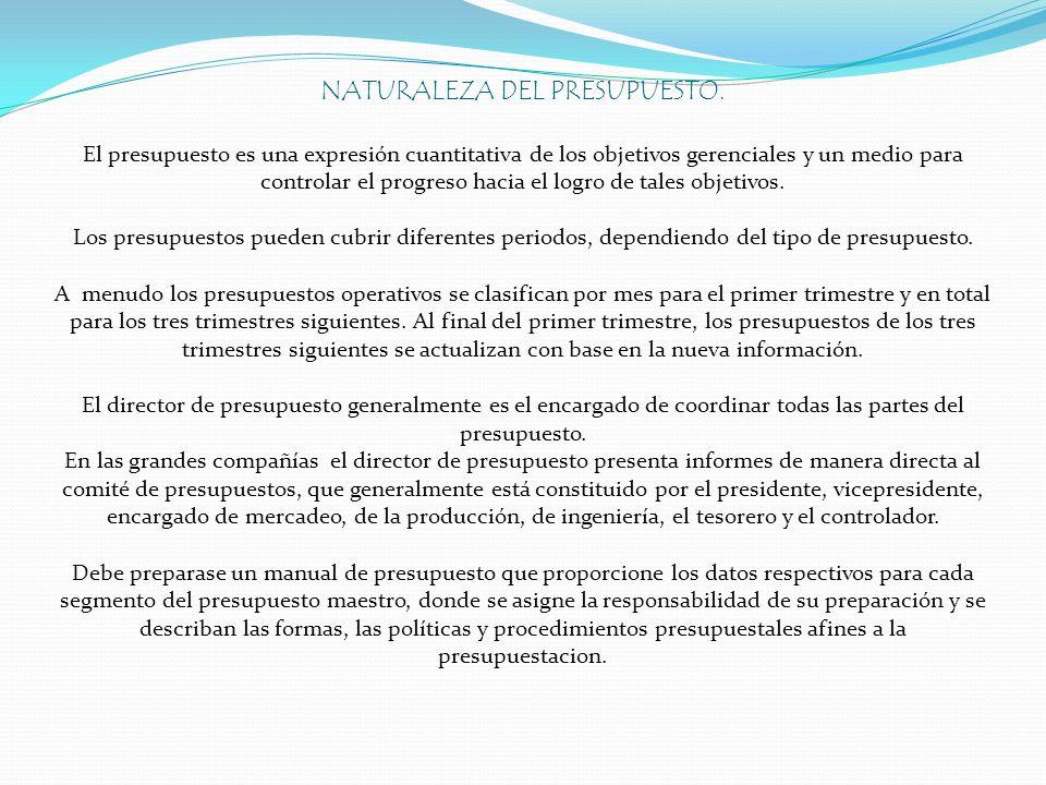 NATURALEZA DEL PRESUPUESTO. El presupuesto es una expresión cuantitativa de los objetivos gerenciales y un medio para controlar el progreso hacia el l
