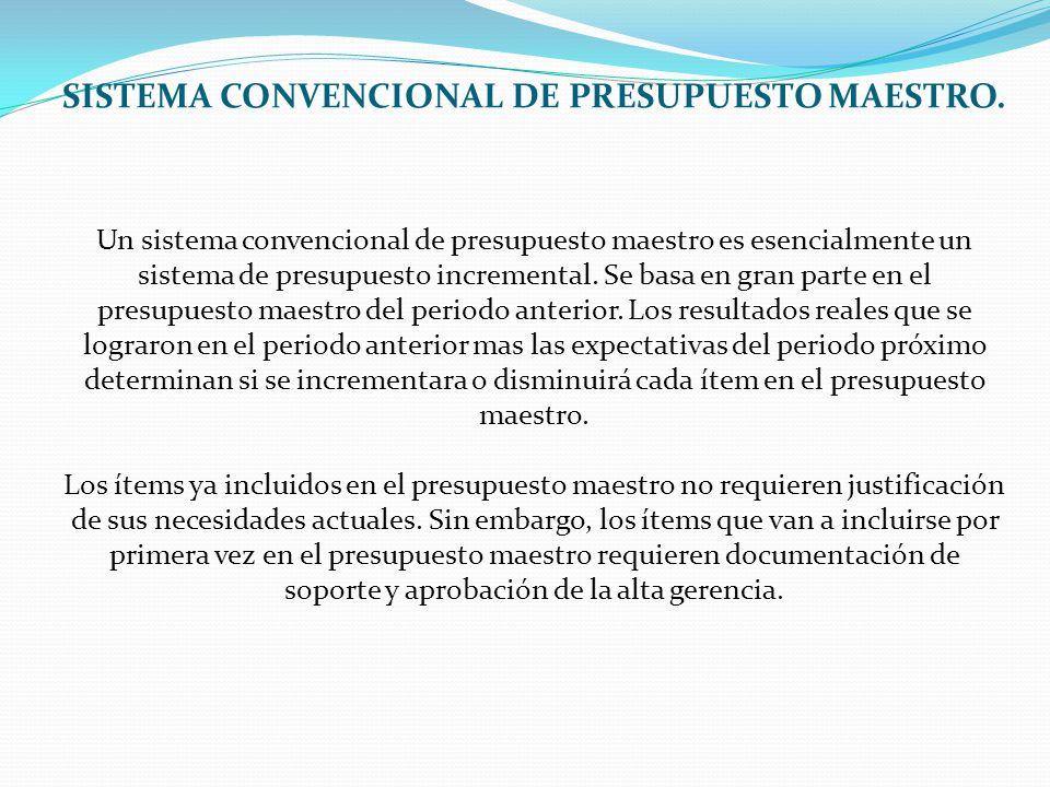 SISTEMA CONVENCIONAL DE PRESUPUESTO MAESTRO. Un sistema convencional de presupuesto maestro es esencialmente un sistema de presupuesto incremental. Se