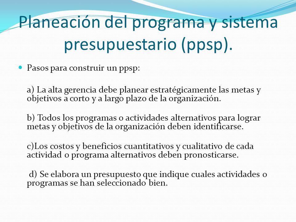 Planeación del programa y sistema presupuestario (ppsp). Pasos para construir un ppsp: a) La alta gerencia debe planear estratégicamente las metas y o