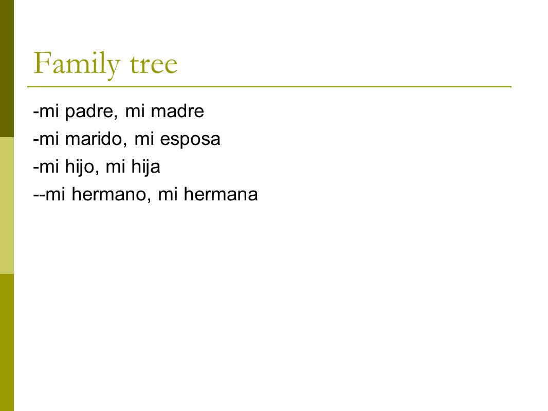 Family tree -mi padre, mi madre -mi marido, mi esposa -mi hijo, mi hija --mi hermano, mi hermana