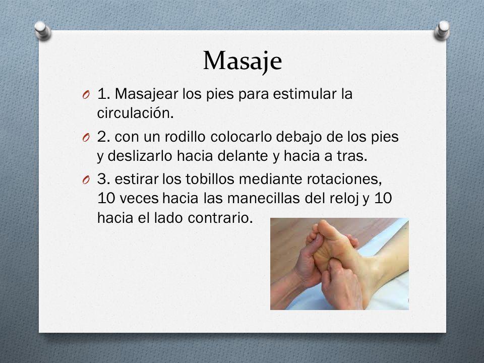 Masaje O 1.Masajear los pies para estimular la circulación.