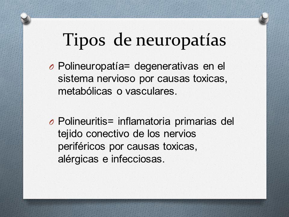 Tipos de neuropatías O Polineuropatía= degenerativas en el sistema nervioso por causas toxicas, metabólicas o vasculares.