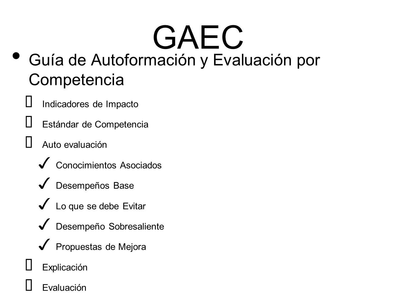 GAEC Guía de Autoformación y Evaluación por Competencia ➡ Indicadores de Impacto ➡ Estándar de Competencia ➡ Auto evaluación ✓ Conocimientos Asociados ✓ Desempeños Base ✓ Lo que se debe Evitar ✓ Desempeño Sobresaliente ✓ Propuestas de Mejora ➡ Explicación ➡ Evaluación