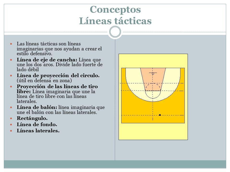 Conceptos Líneas tácticas Las líneas tácticas son líneas imaginarias que nos ayudan a crear el estilo defensivo. Línea de eje de cancha: Línea que une