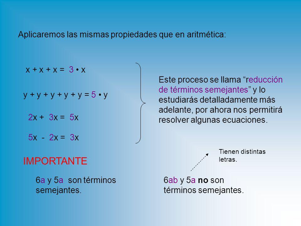 Aplicaremos las mismas propiedades que en aritmética: x + x + x = 3 x 2x + 3x = 5x5x y + y + y + y + y = 5 y 5x - 2x = 3x3x Este proceso se llama reducción de términos semejantes y lo estudiarás detalladamente más adelante, por ahora nos permitirá resolver algunas ecuaciones.