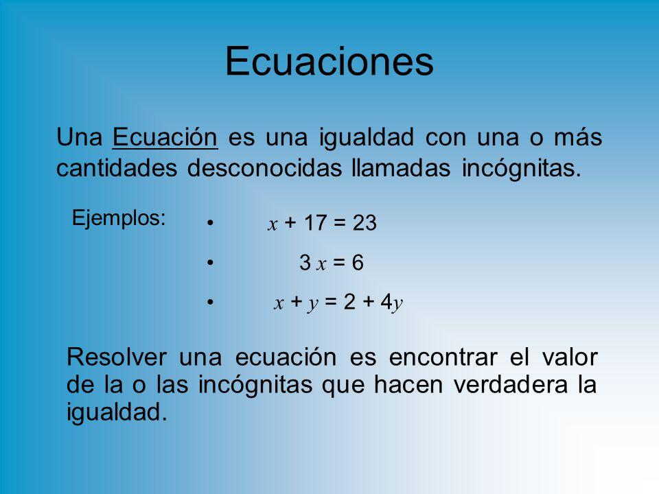 Ecuaciones Una Ecuación es una igualdad con una o más cantidades desconocidas llamadas incógnitas.