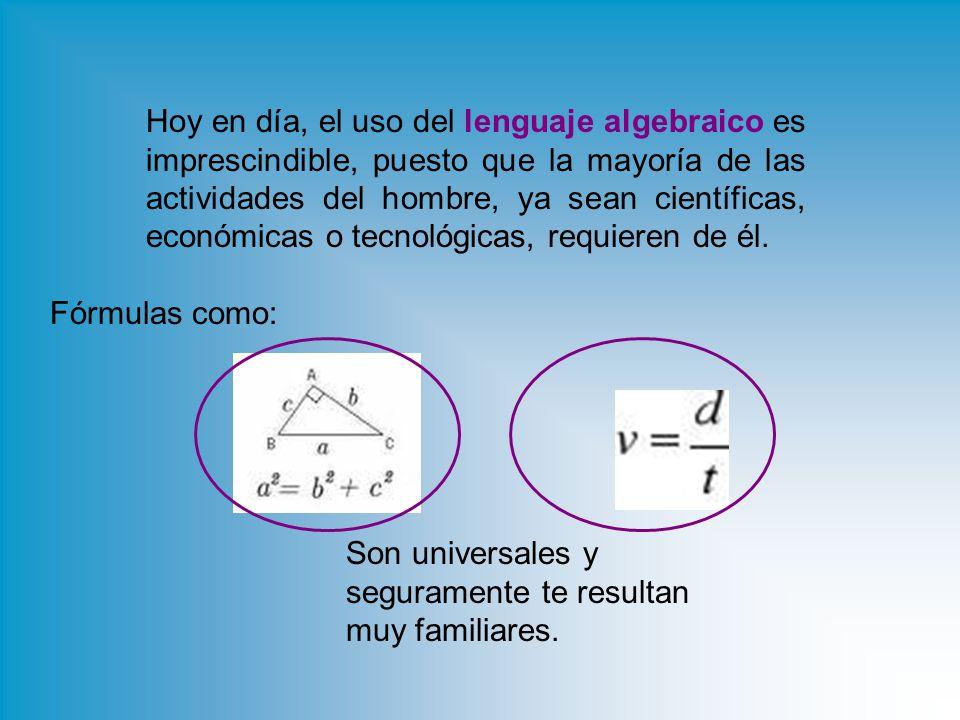 Hoy en día, el uso del lenguaje algebraico es imprescindible, puesto que la mayoría de las actividades del hombre, ya sean científicas, económicas o tecnológicas, requieren de él.
