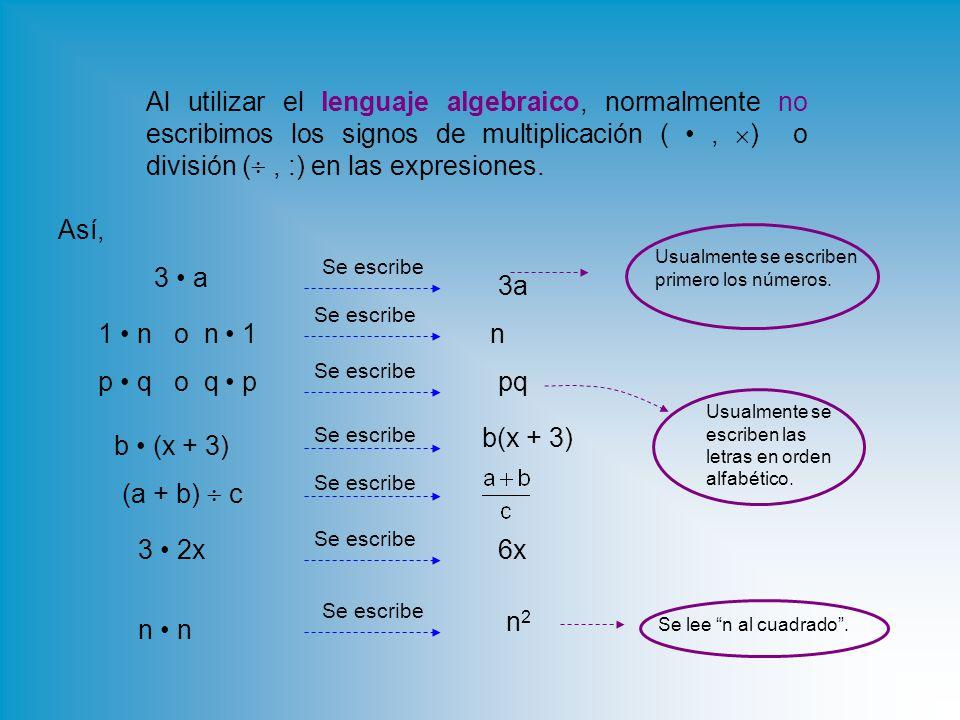 Al utilizar el lenguaje algebraico, normalmente no escribimos los signos de multiplicación (,  ) o división ( , :) en las expresiones.