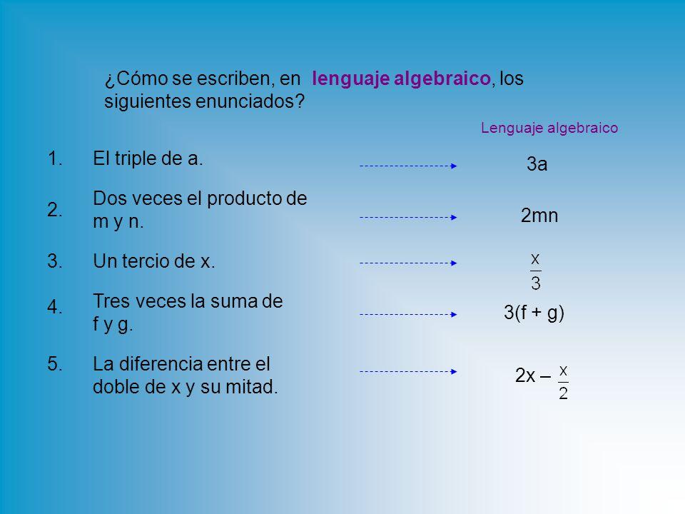 ¿Cómo se escriben, en lenguaje algebraico, los siguientes enunciados.