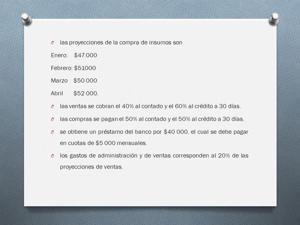 O las proyecciones de la compra de insumos son Enero: $47.000 Febrero: $51000 Marzo $50 000 Abril $52 000.