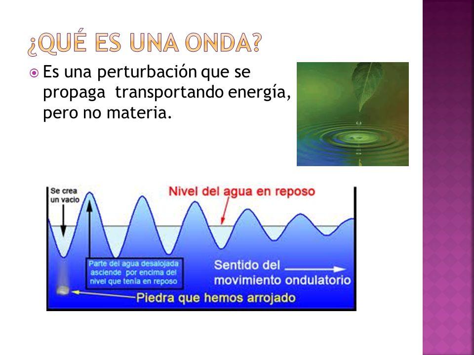  Es una perturbación que se propaga transportando energía, pero no materia.