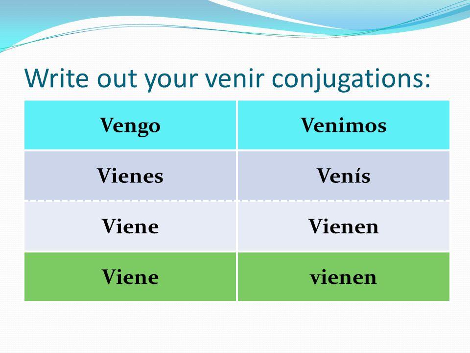 Write out your venir conjugations: VengoVenimos VienesVenís VieneVienen Vienevienen
