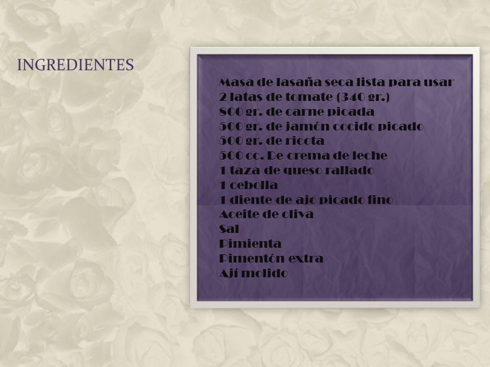 MATERIALES Para preparar la lasaña al horno es necesario tener un buen recipiente refractario que contendrá los ingredientes finales de la lasaña; se aconseja emplear recipientes de hierro fundido con una profundidad de al menos 10 centímetros con el objeto de poder realizar diferentes capas, se debe engrasar el fondo.