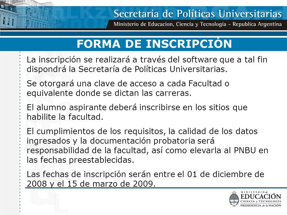 FORMA DE INSCRIPCIÓN La inscripción se realizará a través del software que a tal fin dispondrá la Secretaría de Políticas Universitarias.