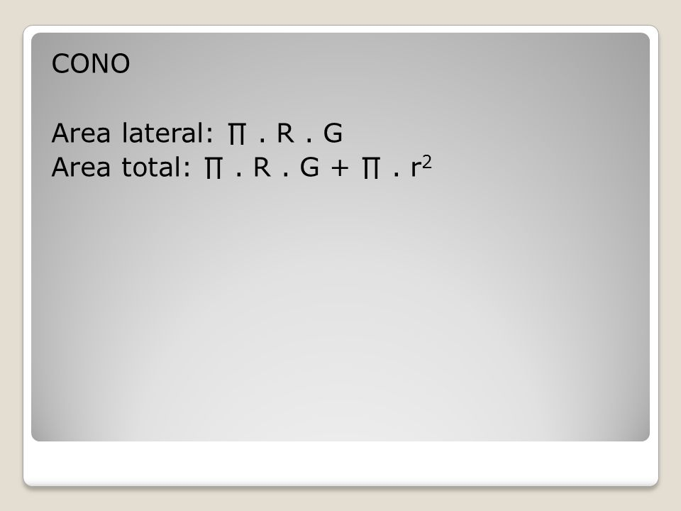 CONO Area lateral: ∏. R. G Area total: ∏. R. G + ∏. r 2