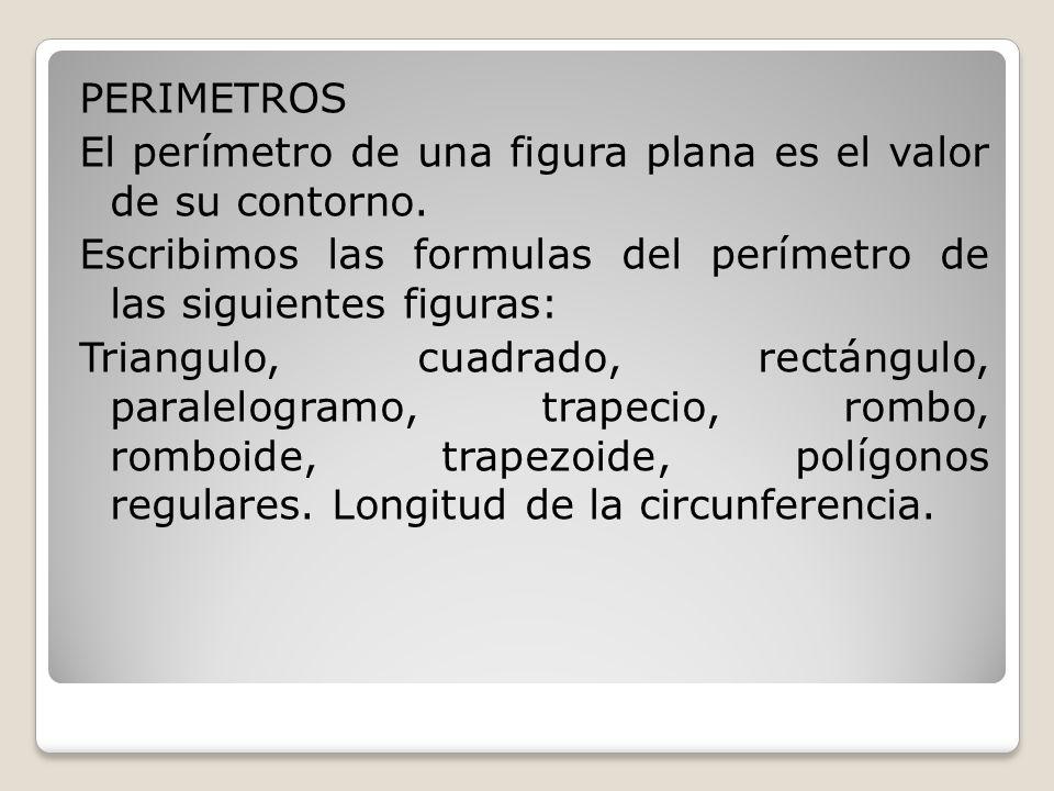 PERIMETROS El perímetro de una figura plana es el valor de su contorno.