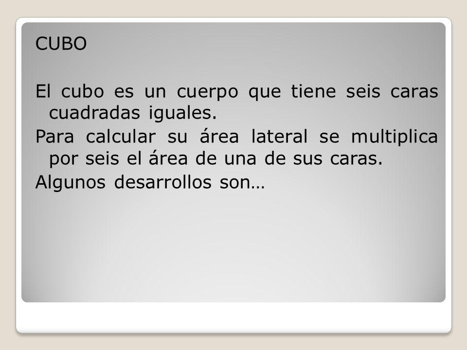 CUBO El cubo es un cuerpo que tiene seis caras cuadradas iguales.