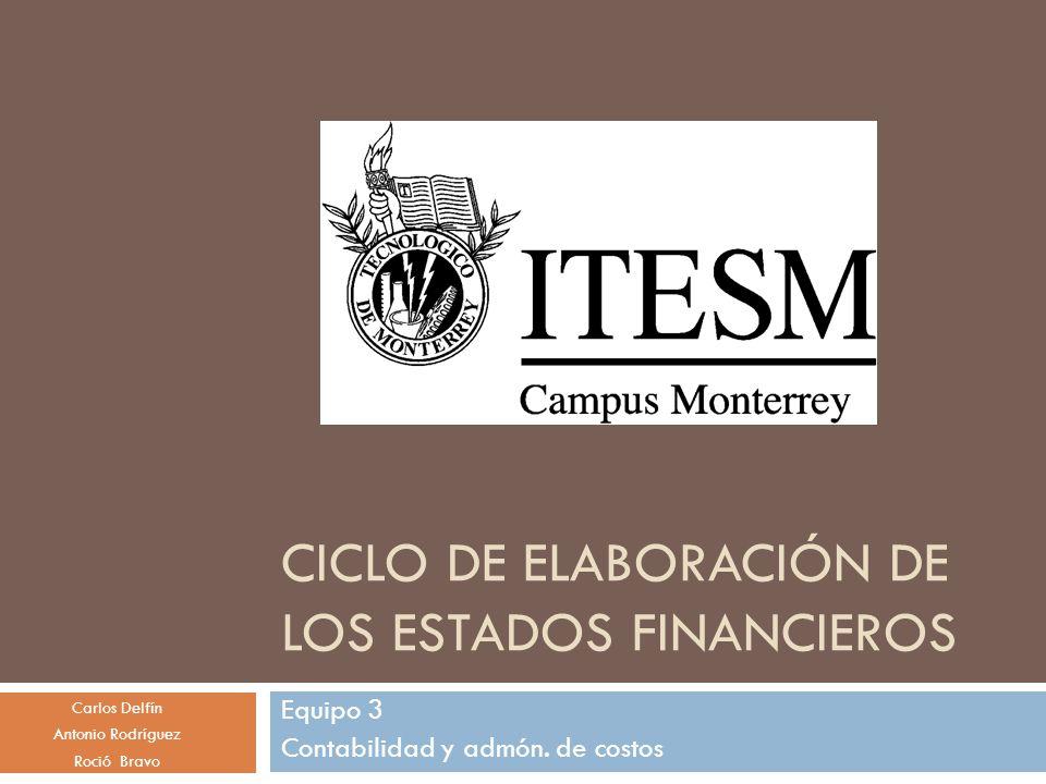 CICLO DE ELABORACIÓN DE LOS ESTADOS FINANCIEROS Equipo 3 Contabilidad y admón.