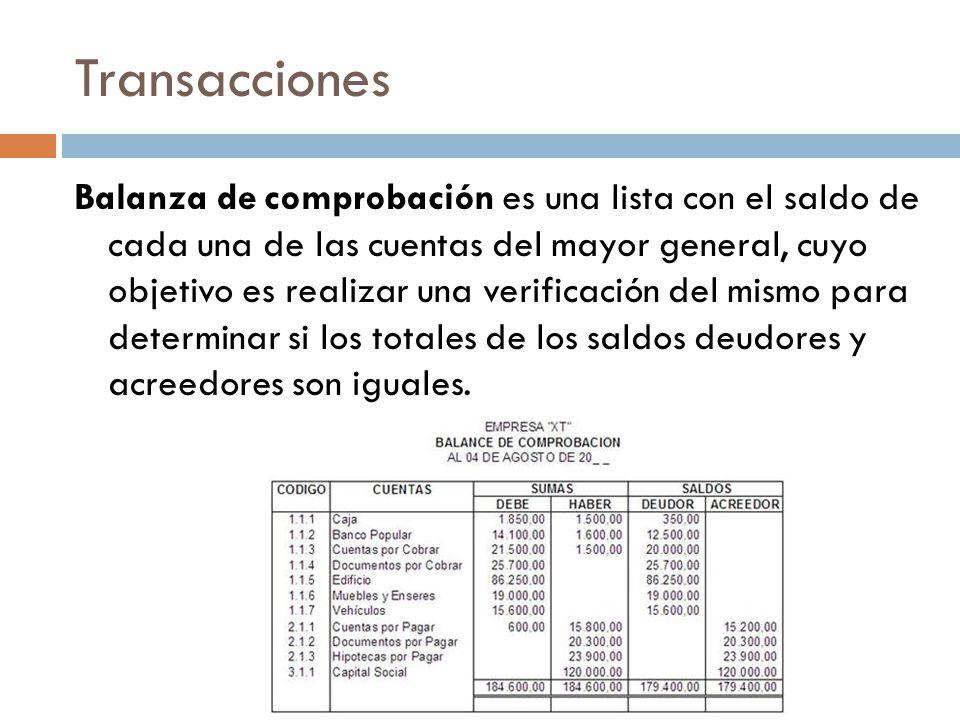 Transacciones Balanza de comprobación es una lista con el saldo de cada una de las cuentas del mayor general, cuyo objetivo es realizar una verificación del mismo para determinar si los totales de los saldos deudores y acreedores son iguales.