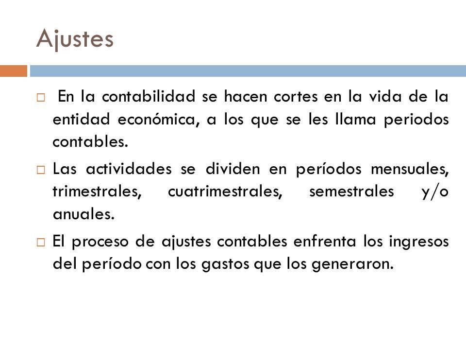Ajustes  En la contabilidad se hacen cortes en la vida de la entidad económica, a los que se les llama periodos contables.