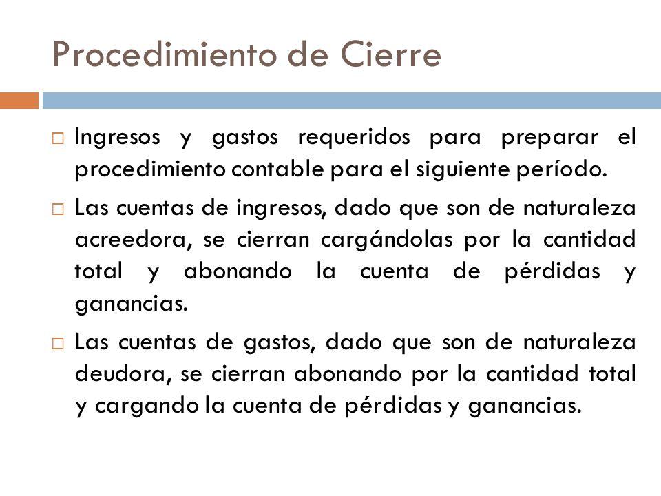 Procedimiento de Cierre  Ingresos y gastos requeridos para preparar el procedimiento contable para el siguiente período.