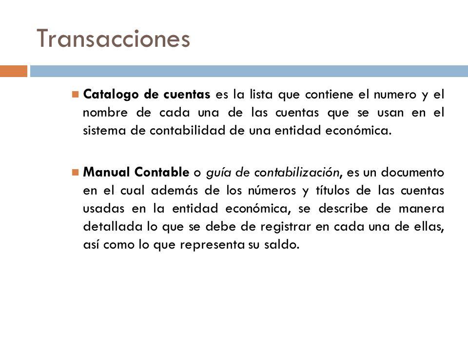 Transacciones Catalogo de cuentas es la lista que contiene el numero y el nombre de cada una de las cuentas que se usan en el sistema de contabilidad de una entidad económica.