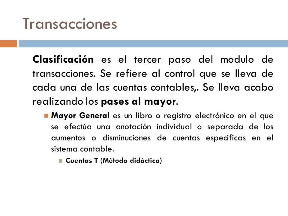 Transacciones Clasificación es el tercer paso del modulo de transacciones.