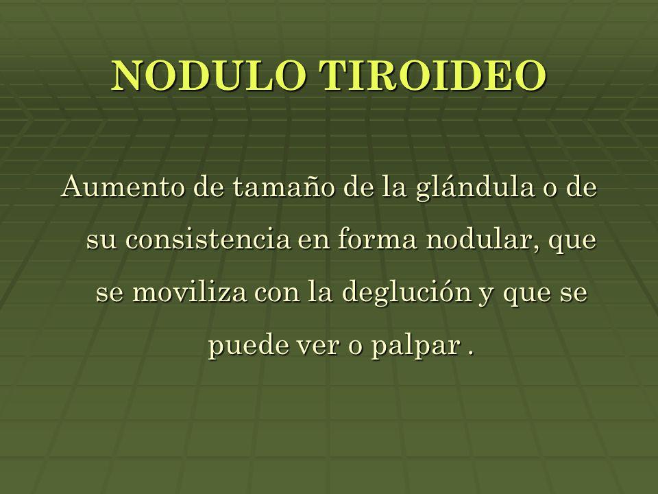 NODULO TIROIDEO Aumento de tamaño de la glándula o de su consistencia en forma nodular, que se moviliza con la deglución y que se puede ver o palpar.