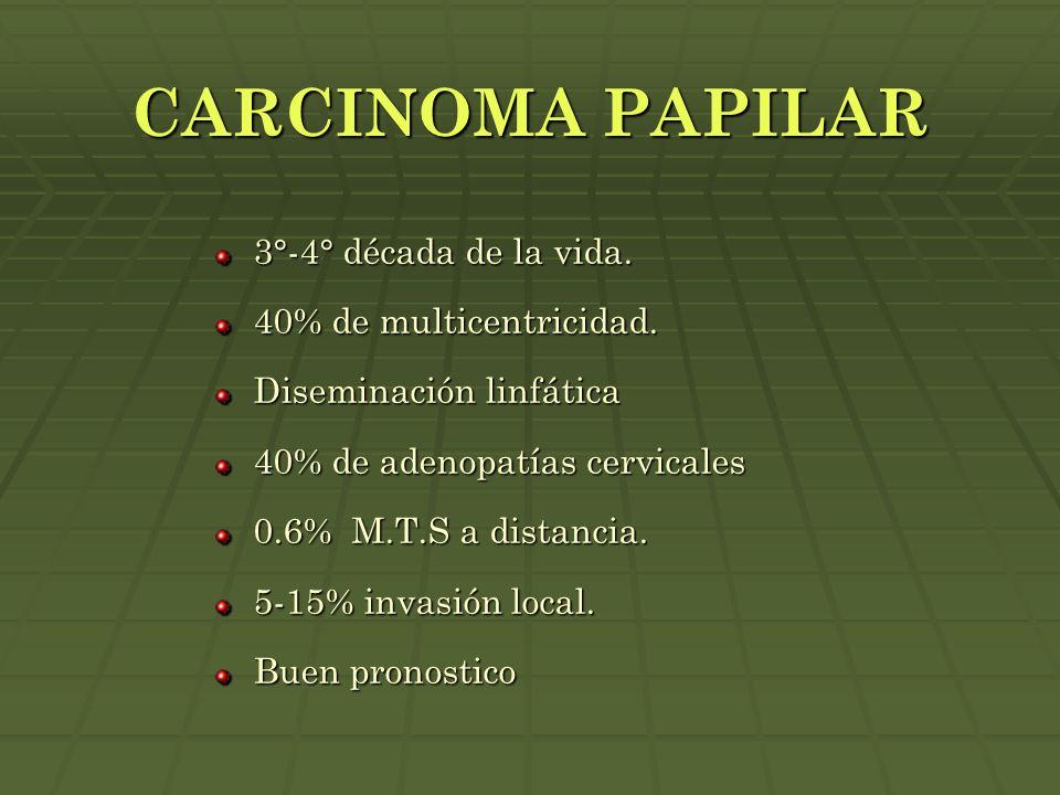CARCINOMA PAPILAR 3°-4° década de la vida. 40% de multicentricidad. Diseminación linfática 40% de adenopatías cervicales 0.6% M.T.S a distancia. 5-15%