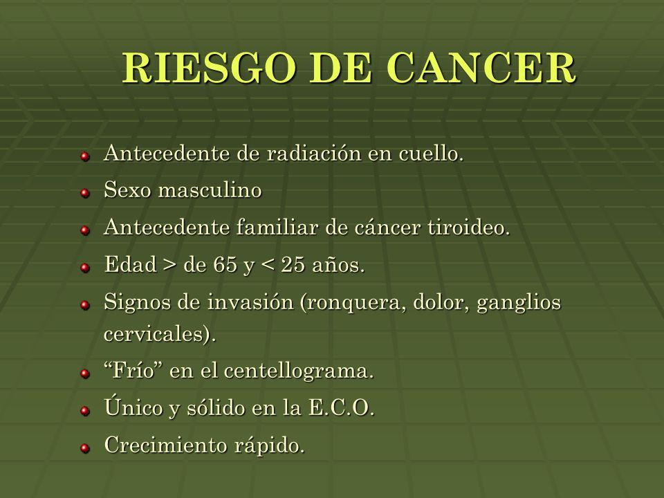 RIESGO DE CANCER Antecedente de radiación en cuello. Sexo masculino Antecedente familiar de cáncer tiroideo. Edad > de 65 y de 65 y < 25 años. Signos