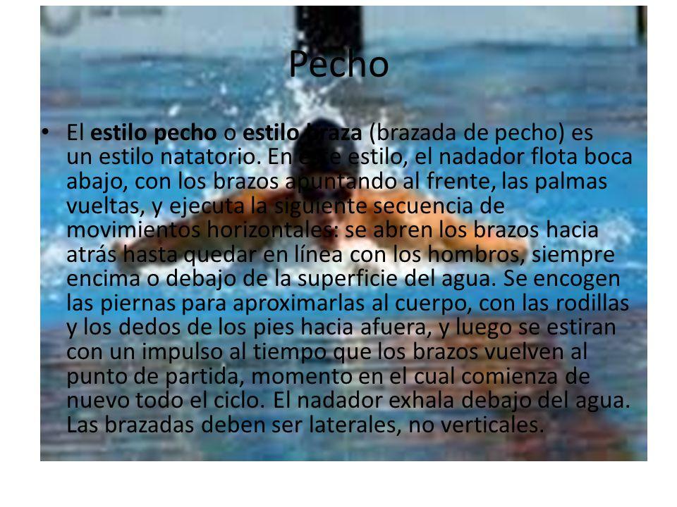 Pecho El estilo pecho o estilo braza (brazada de pecho) es un estilo natatorio. En este estilo, el nadador flota boca abajo, con los brazos apuntando