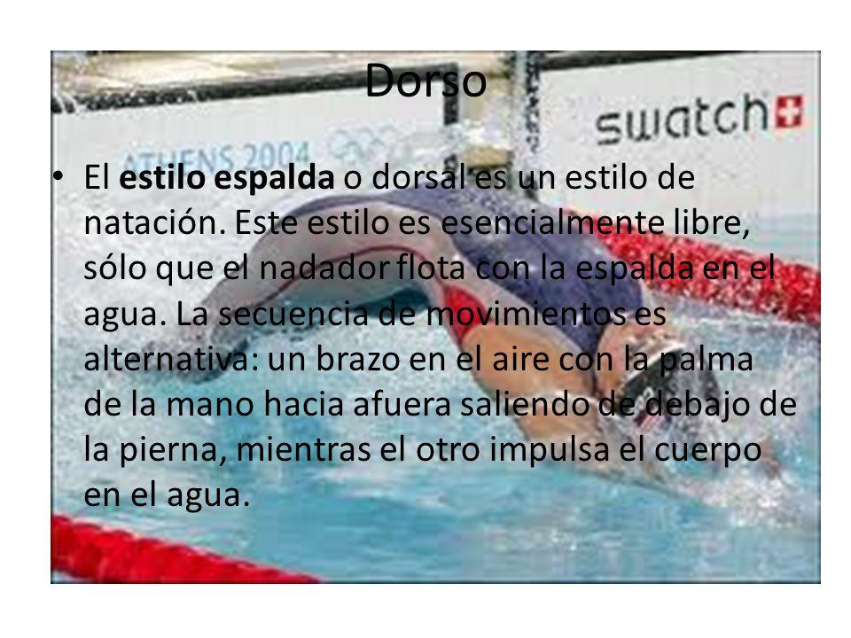 Dorso El estilo espalda o dorsal es un estilo de natación. Este estilo es esencialmente libre, sólo que el nadador flota con la espalda en el agua. La