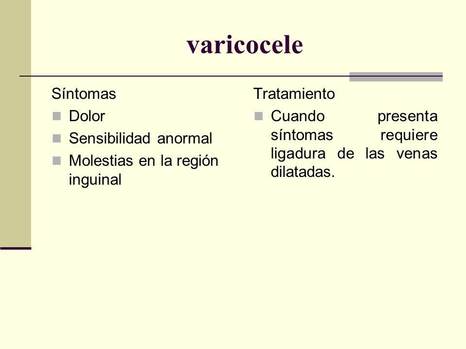 varicocele Síntomas Dolor Sensibilidad anormal Molestias en la región inguinal Tratamiento Cuando presenta síntomas requiere ligadura de las venas dilatadas.
