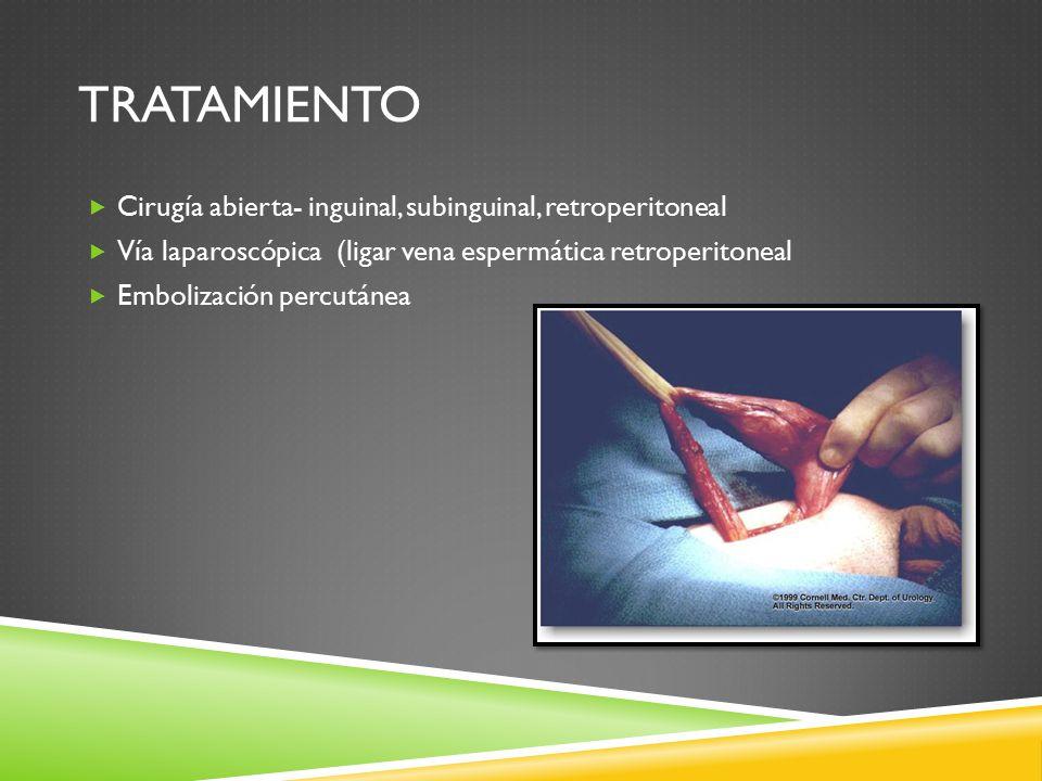 TRATAMIENTO  Cirugía abierta- inguinal, subinguinal, retroperitoneal  Vía laparoscópica (ligar vena espermática retroperitoneal  Embolización percutánea