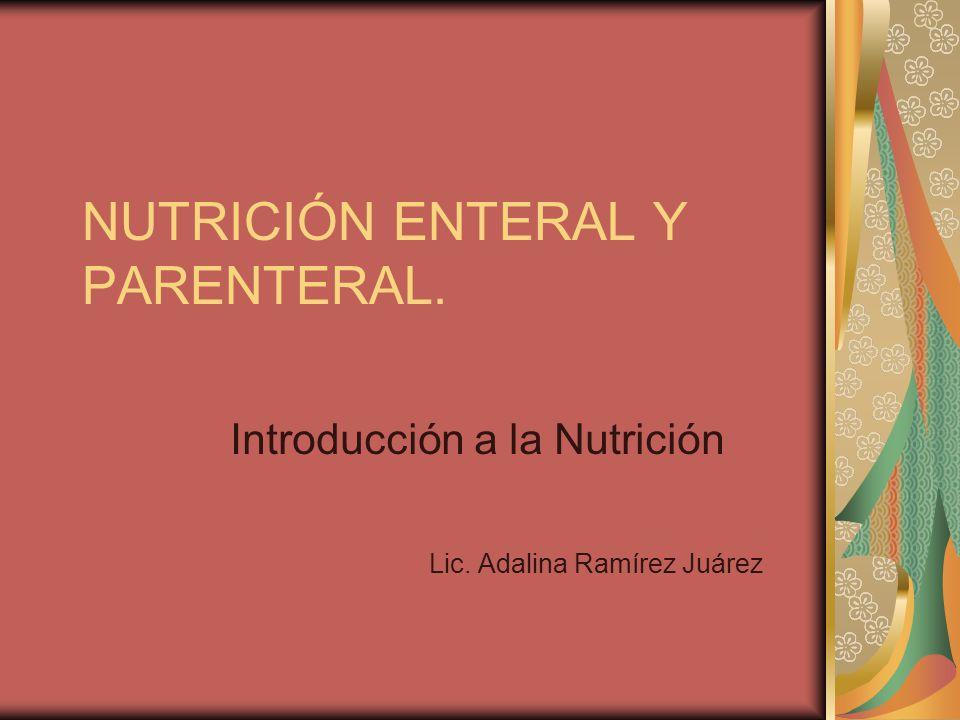 NUTRICIÓN ENTERAL Y PARENTERAL. Introducción a la Nutrición Lic. Adalina Ramírez Juárez